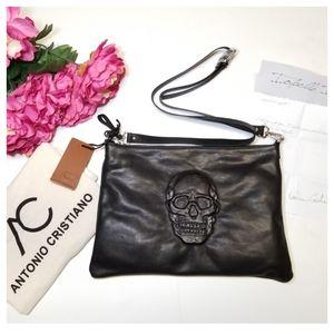 Antonio Cristiano   Skull Leather Crossbody Bag